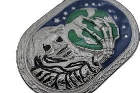 silver metal skull skeleton devil hand world bones halloween belt