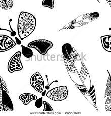 monochrome tribal feathers butterflies on white stock illustration