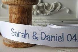 personalized wedding ribbon personalised wedding ribbon and grooms name and wedding