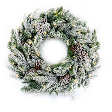 premier decorations 60cm flocked wreath with 50 warm white led s