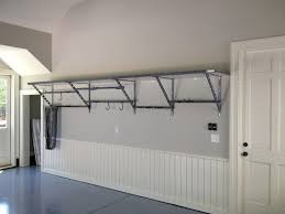 interior wall mounted diy overhead garage storage shelf with