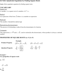 Radical Equations Worksheet Solving Quadratic Equations With Square Roots Worksheet Answers