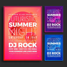 different colors of purple summer night party flyer design concept in three different colors