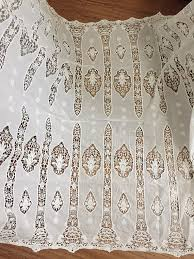 Lace Fabric For Curtains Vintage Cotton Lace Fabric In Ivory Crochet Fabric For Weddings