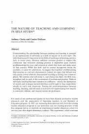 the nature of teaching and learning in self study springer