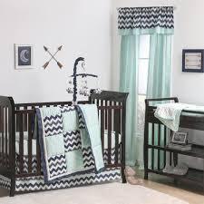 playful wave patchwork crib starter set in mint u0026 navy