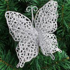 glitter butterfly christmas ornaments hanging baubles xmas tree