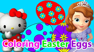 coloring page easter eggs with sofia the first and hello kitty