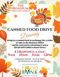 canned food drive drawing the roadium open air market torrance