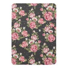 black and pink roses custom baby blankets zazzle