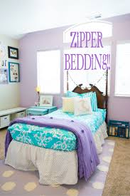 Girls Bedroom Accent Wall Turquoise And Purple Girls Bedding Love The Purple Accent Wall