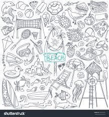 beach theme doodle seaside stock vector 278795528