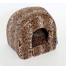 rspca luxury leopard plush igloo cat bed cat beds cat pet