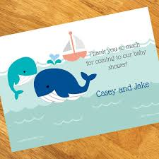 baby shower notes whale boy baby shower personalized thank you notes
