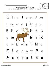 alphabet letter hunt letter e worksheet color