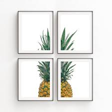 Pineapple Decorations For Kitchen by Kitchen Decor Print Sets Wall Art Set Of 4 Pineapple Set