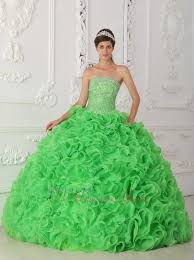 green ruffled skirt dress to wear for quinceanera party