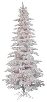 12 pre lit flocked spruce slim artificial tree multi
