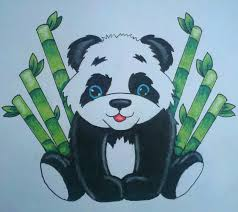 panda bear with bamboo drawing artwork pinterest bamboo