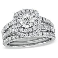 wedding ring bridal set 1 1 2 ct t w frame bridal set in 14k white gold