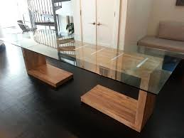 hand crafted glass top dining and side table by ajc woodworking
