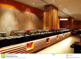 modern restaurant interior in night illumination stock photo