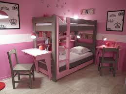 teenage bedroom colors with simple pink and brown bunk bed feat