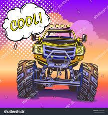 monster trucks races cartoon cars cartoon monster truck pop art style stock vector 623436380