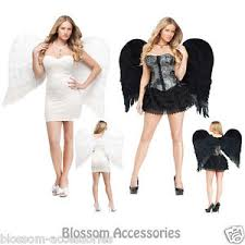 Halloween Costumes Angel A308 Black White Feather Large Wings Angel Halloween