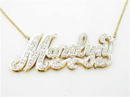 Gold Name Plated Necklace 14k Yellow Gold U0026 Diamonds Custom Made