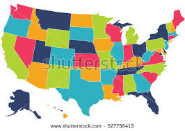 america map highly detailed political usa map names stock vector 128068373