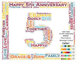 5th anniversary gift ideas personalized 5th anniversary 5th anniversary gift 8 x 10 print word ar