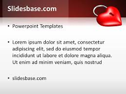 locked red heart powerpoint template slidesbase