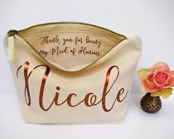 bridal makeup bag wedding thank you gift personalised bridesmaid gift make up bag