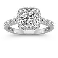 cushion ring cushion halo diamond engagement ring with pave setting shane co