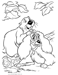 lady tramp color disney coloring pages color plate