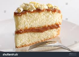 slice layered vanilla lemon cake stuffed stock photo 3275275