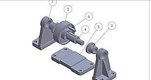 solidworks design and assembly of support bush pulley shaft base
