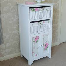 White Wicker Bathroom Drawers White Floral Wicker Basket Storage Unit With Cupboard Bathroom
