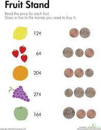 counting coins at the fruit stand worksheet education com