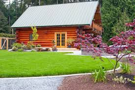 small log cabins landscaping ideas houzz