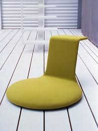 Sitting Chairs For Living Room Round Base Green Fabric Cover Floor Seating With Backrest For