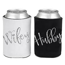 wedding can koozies and groom can coolie can koozie set for wedding