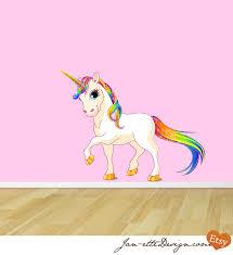35 unicorn wall decal unicorn wall stickers wall art kids princess rainbow unicorn reusable fabric wall decal
