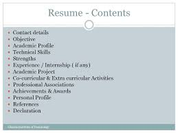 resume tips presented by k g vinod training u0026 placement officer