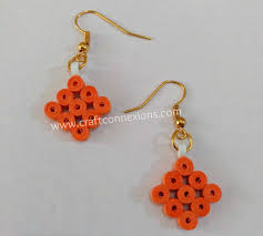 handmade paper earrings handmade earrings tutorial orange colored paper quilling