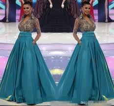 Formal Gowns Green Miss World Long Sleeve Evening Gowns 2017 New Sheer V Neck