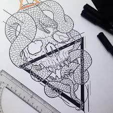 tattoo geometric outline lines pen skull snake tattoo art outline geometric tattoo