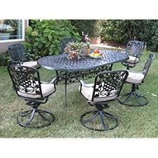 Swivel Outdoor Patio Chairs Amazon Com Cbm Outdoor Patio Furniture 7 Piece G Aluminum Dining