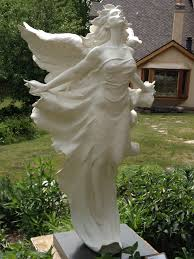 angel sculpture at the edgewood orchard garden in fish creek wi